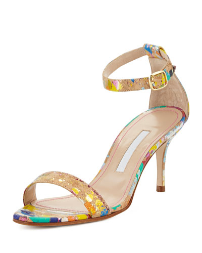 Chaos Paint-Splatter Cork Sandal, Multi