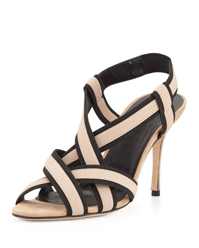 Lasti Stretch-Strap Crisscross Sandal, Black/Nude