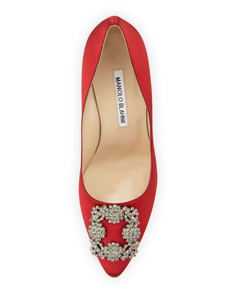 Hangisi Crystal-Buckle Satin 105mm Pump, Red
