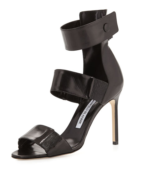 Manolo Blahnik Mielozela Three-Strap High-Heel Sandal, Black