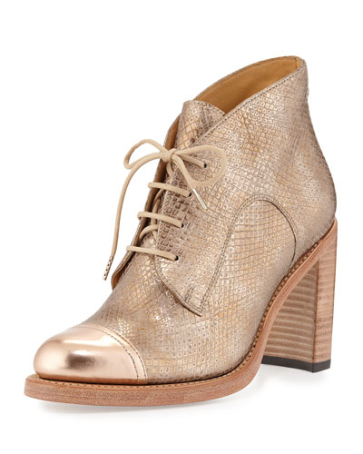 Miss Madeline Stamped Leather Oxford Boot, Rose