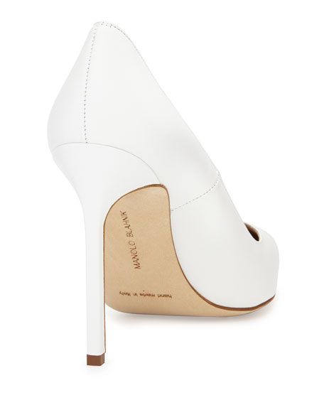 BB Leather 115mm Pump, White