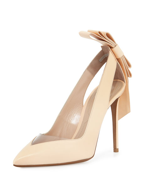 Nicholas Kirkwood Origami Bow Point-Toe Pump, Nude