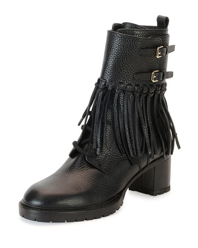 Tassel Leather Combat Boot, Nero