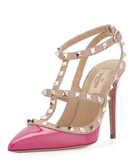 Valentino Rockstud Patent Leather Pump, Fuchsia/Powder