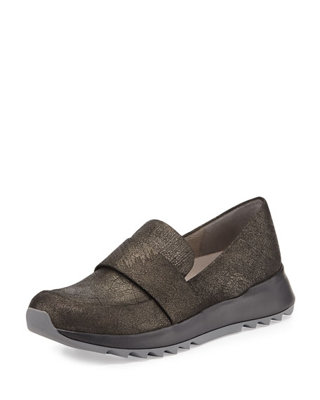 Eileen Fisher Leather Penny Loafer-Trainer, Mica