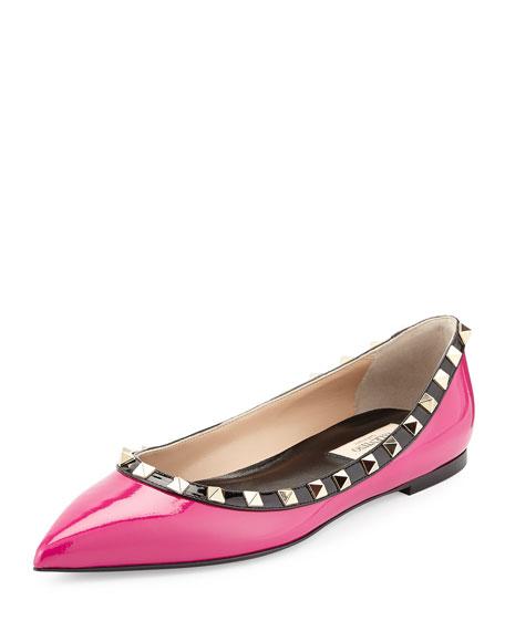 Valentino Colorblock Rockstud Ballerina Flat, Fuchsia/Black