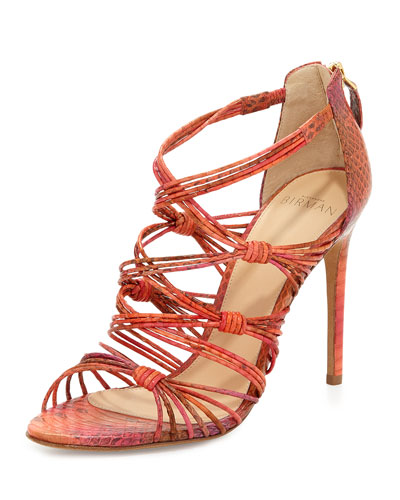 Strappy Watersnake High-Heel Sandal, Orange