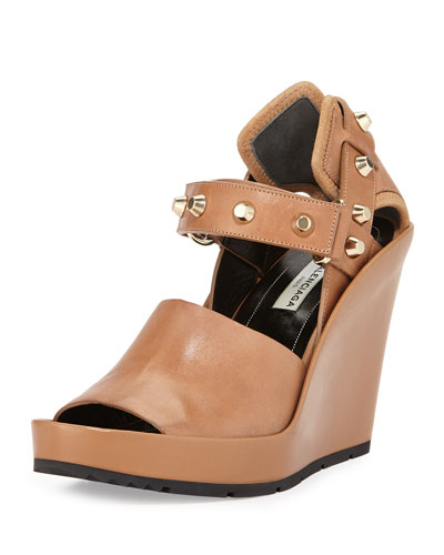 Studded Leather Wedge Sandal, Camel