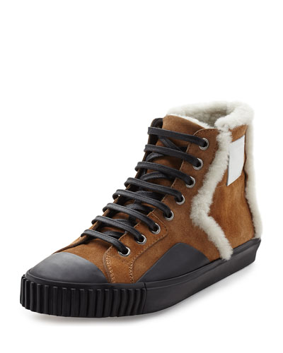 Shearling Fur-Lined Suede High-Top Sneaker, Tan