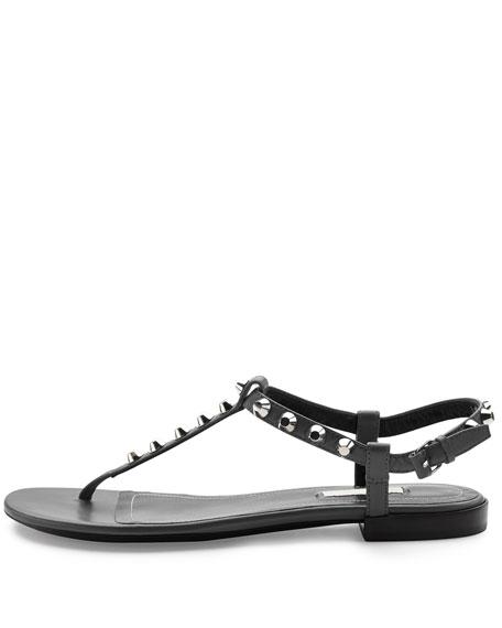 Balenciaga Studded Leather Thong Sandal