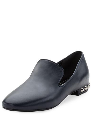Leather Stud-Heel Smoking Slipper, Bleu
