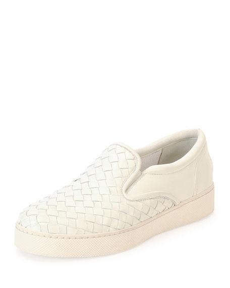 Bottega Veneta Napa Intrecciato Woven Skate Sneaker, White