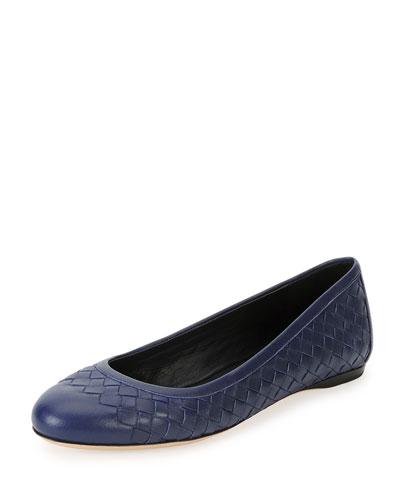 Napa Intrecciato Ballerina Flat, Atlantic Blue