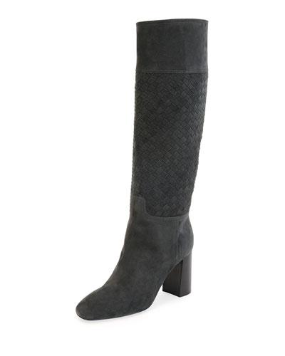 Suede Intrecciato Woven Knee Boot, Slate