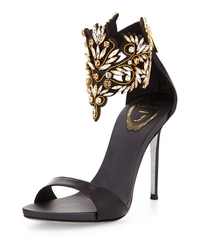 Embellished Ankle Cuff Sandal, Black