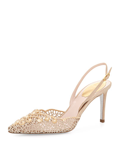 Pearly-Lace Embroidered Sandal, Champagne