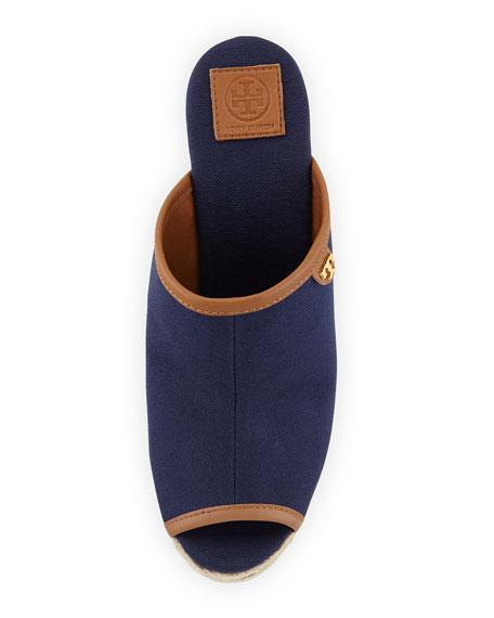 Canvas Peep-Toe Wedge Sandal, Navy