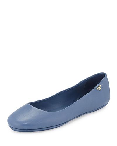 Packable Leather Ballet Flat, Blue