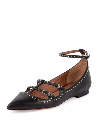 Studded Leather Ballet Flat, Black