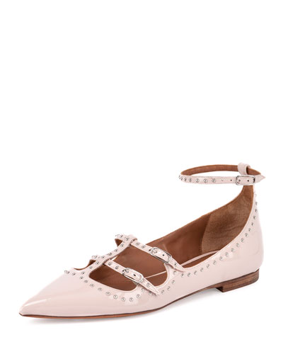 Studded Patent Leather Ballet Flat, Nude Pink