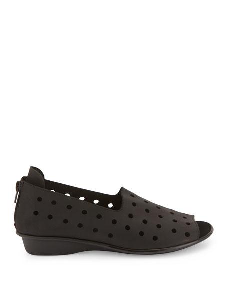 Edwina Perforated Open-Toe Slip-On, Black
