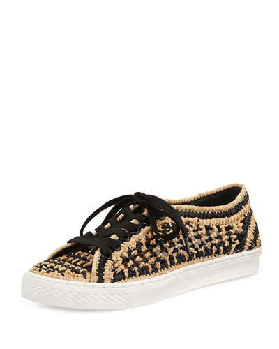Cora Knit-Raffia Low-Top Sneaker, Black