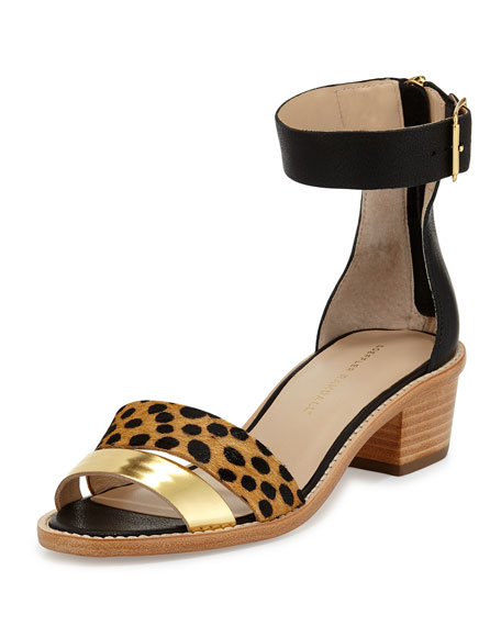 Loeffler Randall Henry Calf-Hair City Sandal, Black/Gold