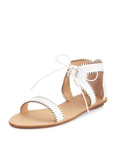 Sophia Leather Lace-Up Sandal, White