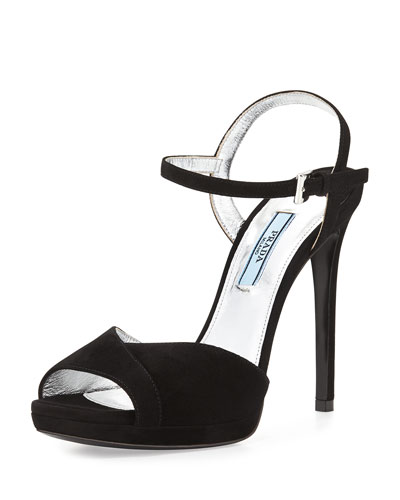 Peep-Toe Ankle-Strap Sandal, Nero