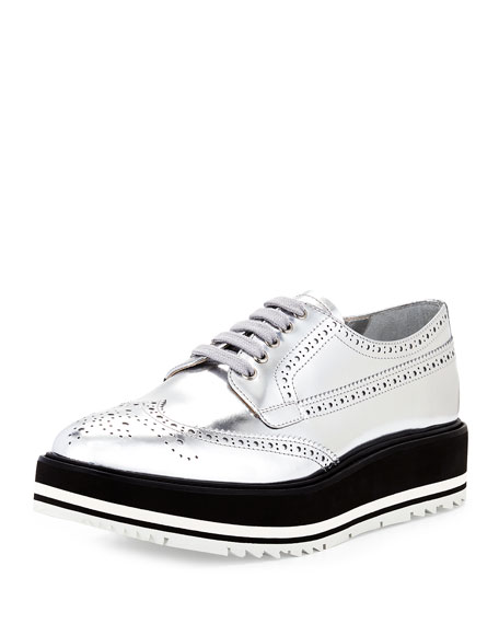 Prada Metallic Wing-Tip Platform Loafer