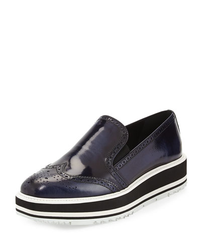 Spazzolato Wing-Tip Platform Slip-On Loafer, Baltic
