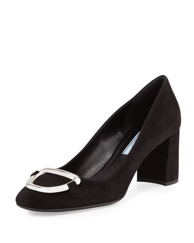 Suede Mid-Heel Buckle Pump, Black (Nero)