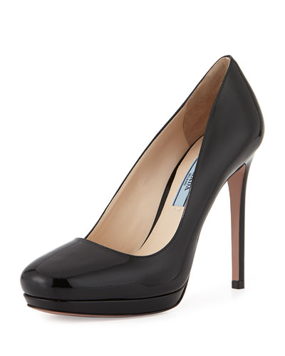 Patent High-Heel Platform Pump, Black (Nero)