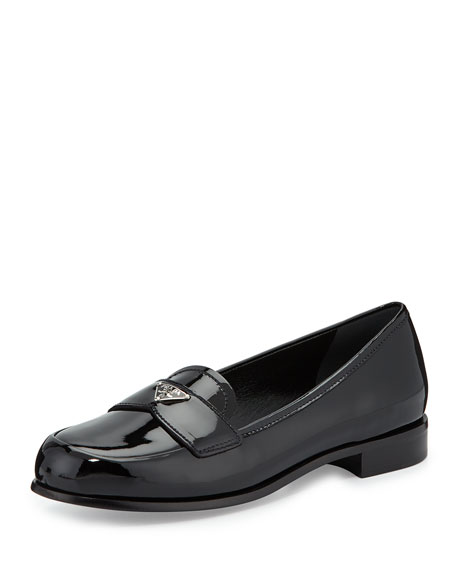 Prada Patent Leather Perforated Loafers outlet with credit card clearance latest find great for sale buy cheap professional WlU3f3q