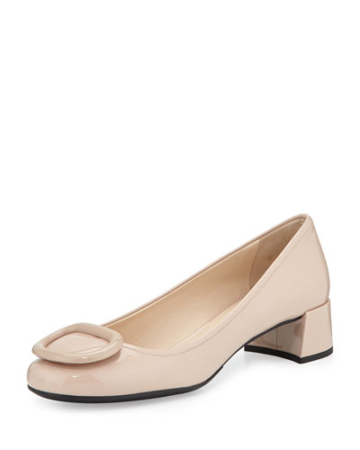 Chunky-Heel Patent-Leather Pump, Cipria