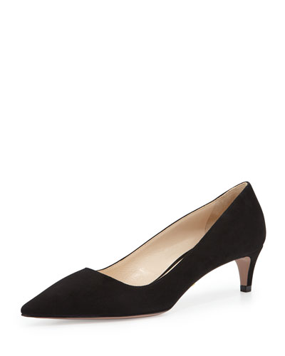Low-Heel Suede Pump, Black (Nero)