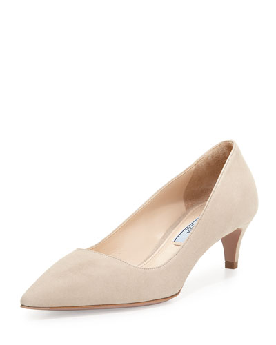 Low-Heel Suede Pump, Quarzo