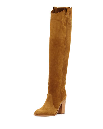 Silas Suede Knee Boot, Camel