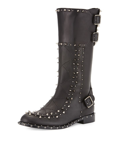 Baltazar Studded Leather Boot, Black