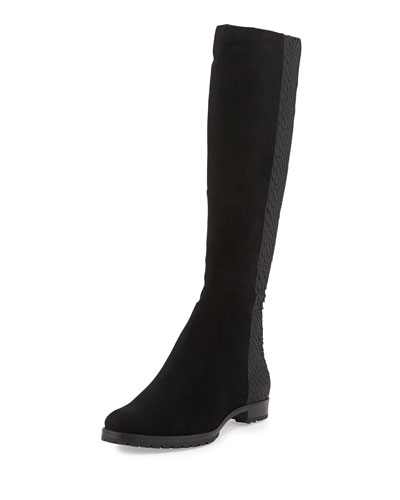 Benji Suede & Python Knee Boot, Black