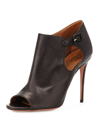 Maryna Leather Peep-Toe Bootie, Black
