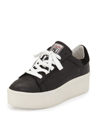Cult Crackled Leather Platform Sneaker, Black