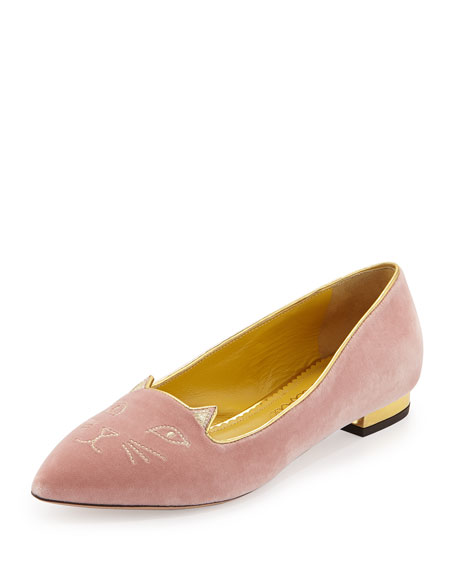 Charlotte Olympia Velvet Kitty Ballerina Flats Cheap Sale Limited Edition Cheap 2018 New Pictures Cheap Online Q6GQ2ytCWi