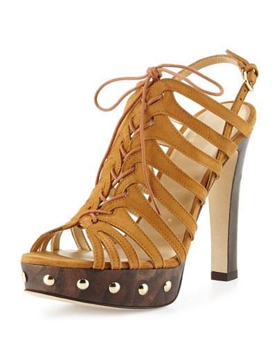 Hitied Suede Platform Sandal, Camel