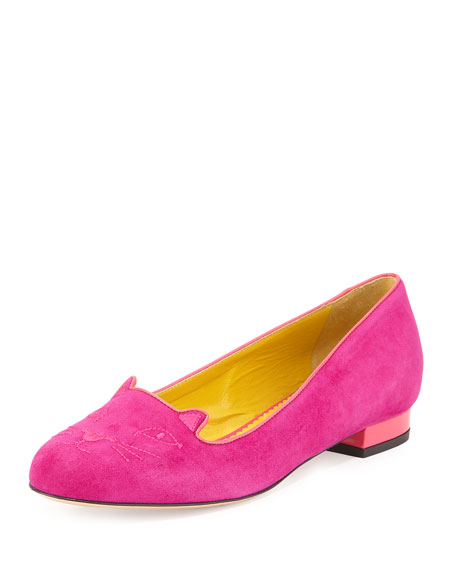 Charlotte Olympia Kitty Embroidered Suede Flat, Perfect Purple