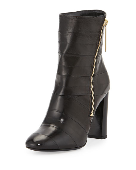 Abbeyhome Leather Side-Zip Bootie, Black