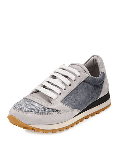 Monili Cap-Toe Flower Sneaker, Gray