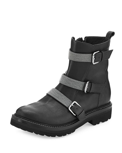 Leather Triple-Strap Moto Boot, Black