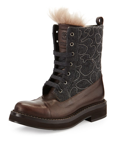 Monili Flannel Lace-Up Boot, Volcano